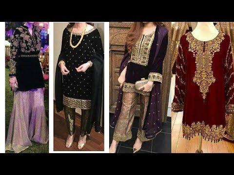 Velvet dress designs for Winter season 2017-18/ Dress designs 2018/dress designs for brides