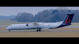 Brussels Airlines Q-400 (G-ECOI) landing at Hamburg Airport