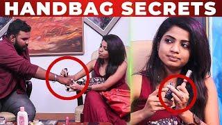 LIP STICK Test With VJ Ashiq   RJ Raghvi HANDBAG Secrets   What's Inside the Handbag