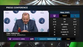 Thibodeau: Wolves' bench excellent vs. Kings