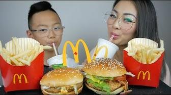 McDonald's BLT Crispy Chicken Burger, Spicy Harbanero McChicken Mukbang | N.E Let's Eat
