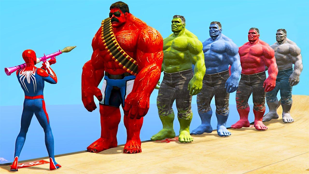 GTA 5 Crazy Ragdolls Spiderman VS Red Hulk VS Green Hulk ...