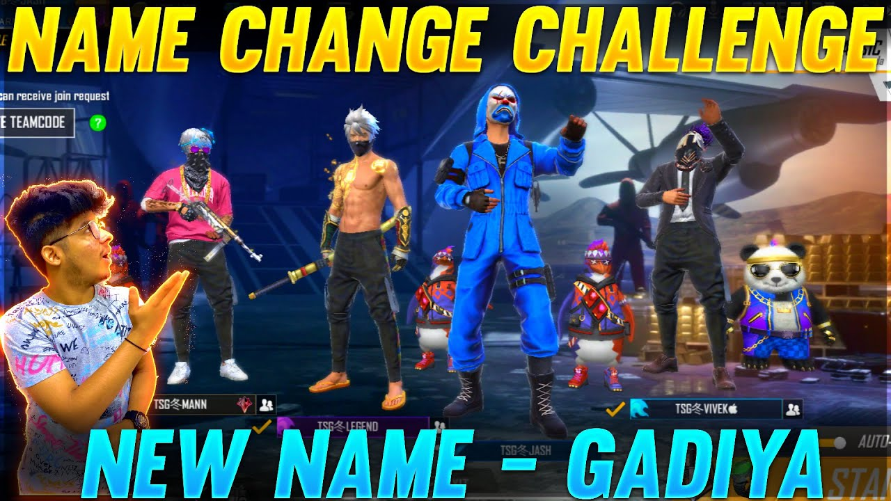 "Free Fire : TSG Name Change Challenge 😂 With TSG Squad|| Who will become ""Gadiyaa"" CRYING REACTION"