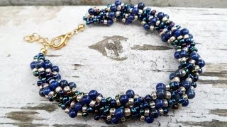 PandaHall Jewelry Making Tutorial Video--How to Make Lapis and Gold Spiral Rope Chain Bracelet