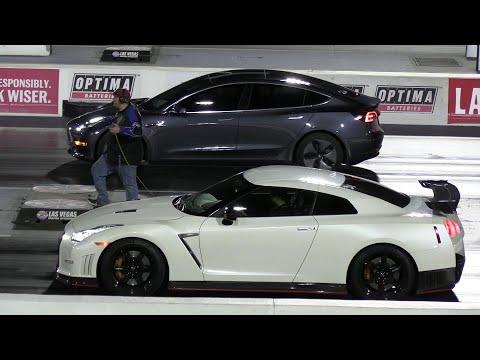 Tesla vs Nismo GT-R and vs ZL1 Camaro - drag race