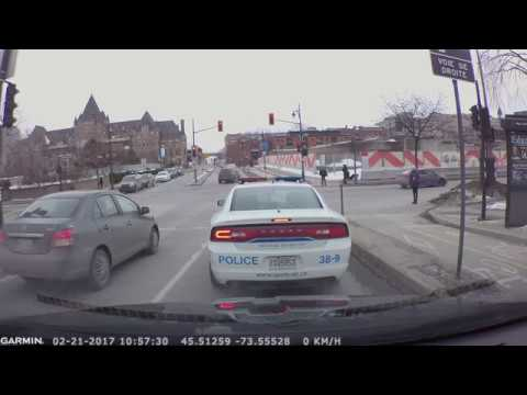 Montreal Police Runs Red Light