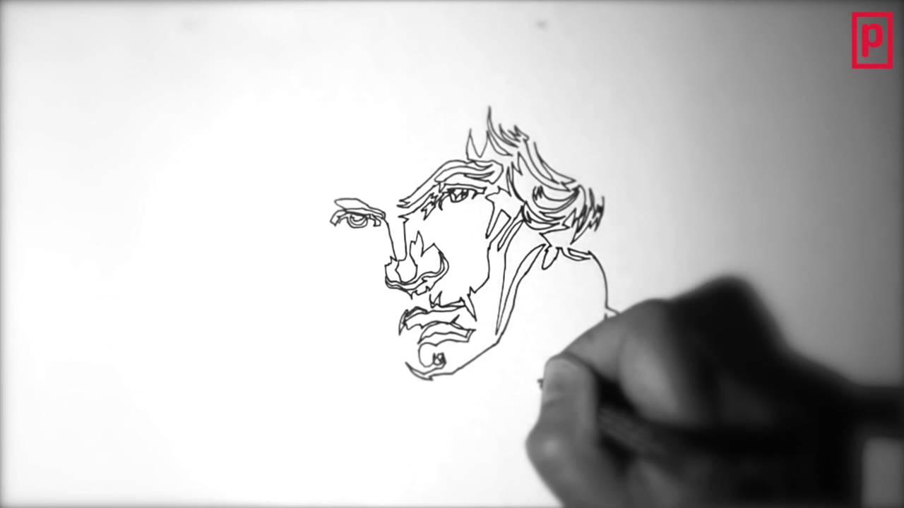 Dibujo De Línea Contínua De Beethoven
