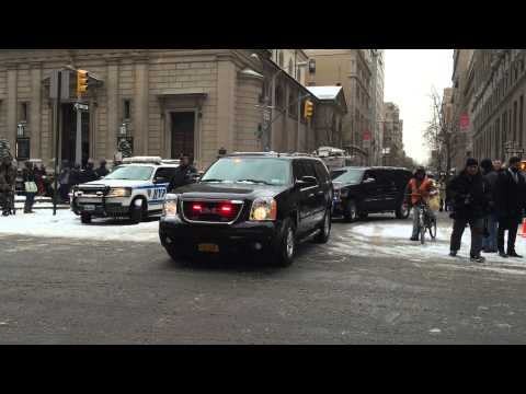 NYPD HIGH RANKING UNIT & UNITED STATES SECRET SERVICE UNIT LEAVING FUNERAL DETAIL IN MANHATTAN.