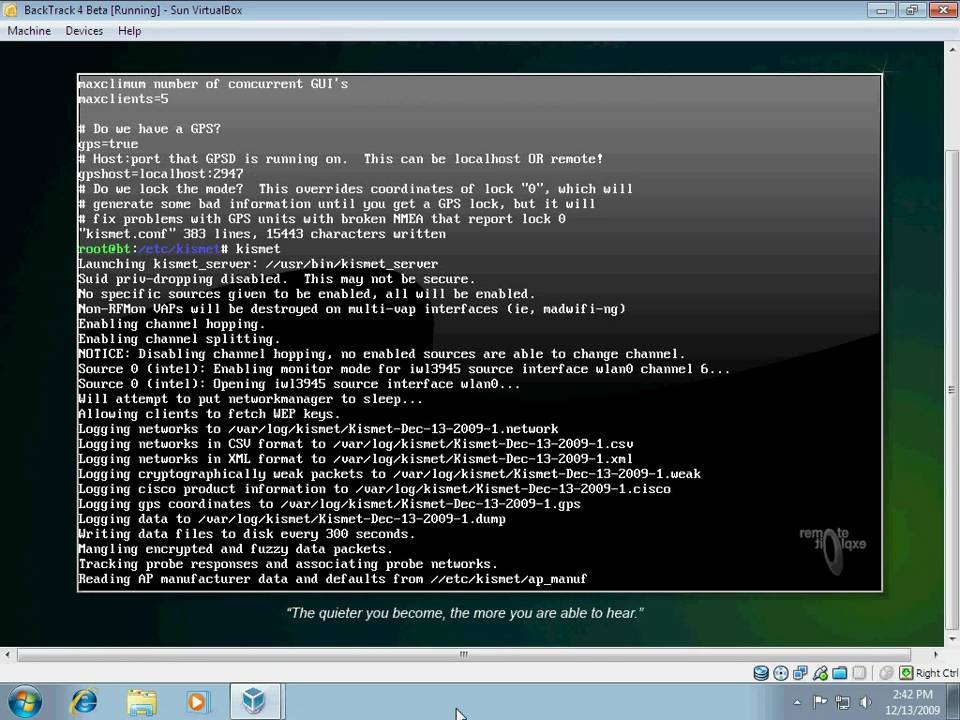 Setup Kismet GPSd in BackTrack 4 Beta Live ISO under Sun VirtualBox on  Windows 7 host OS
