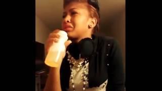 Girl drinks her own pee