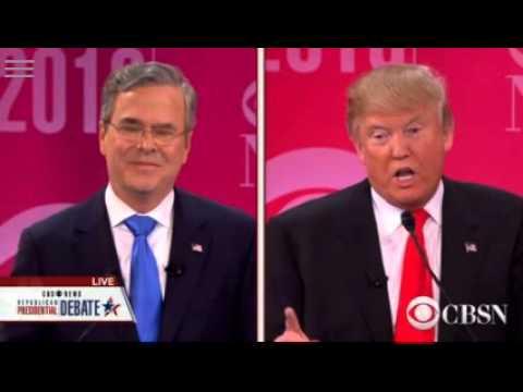 Donald Trump and Jeb Bush argue over Immigration at CBSN Debate - 2/13/2016