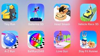Tiny Run 3D, Ballerina 3D, Head Smash, Vehicle Race 3D, A-Z Run, Ball Run 2048, Love Gun, Stay Fit