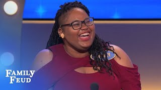 Steve can't believe Ashley said THIS ANSWER in front of her GRANDMOTHER! | Family Feud