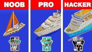 Minecraft NOOB vs PRO vs HACKER: FAMILY YACHT HOUSE BUILD CHALLENGE in Minecraft Animation