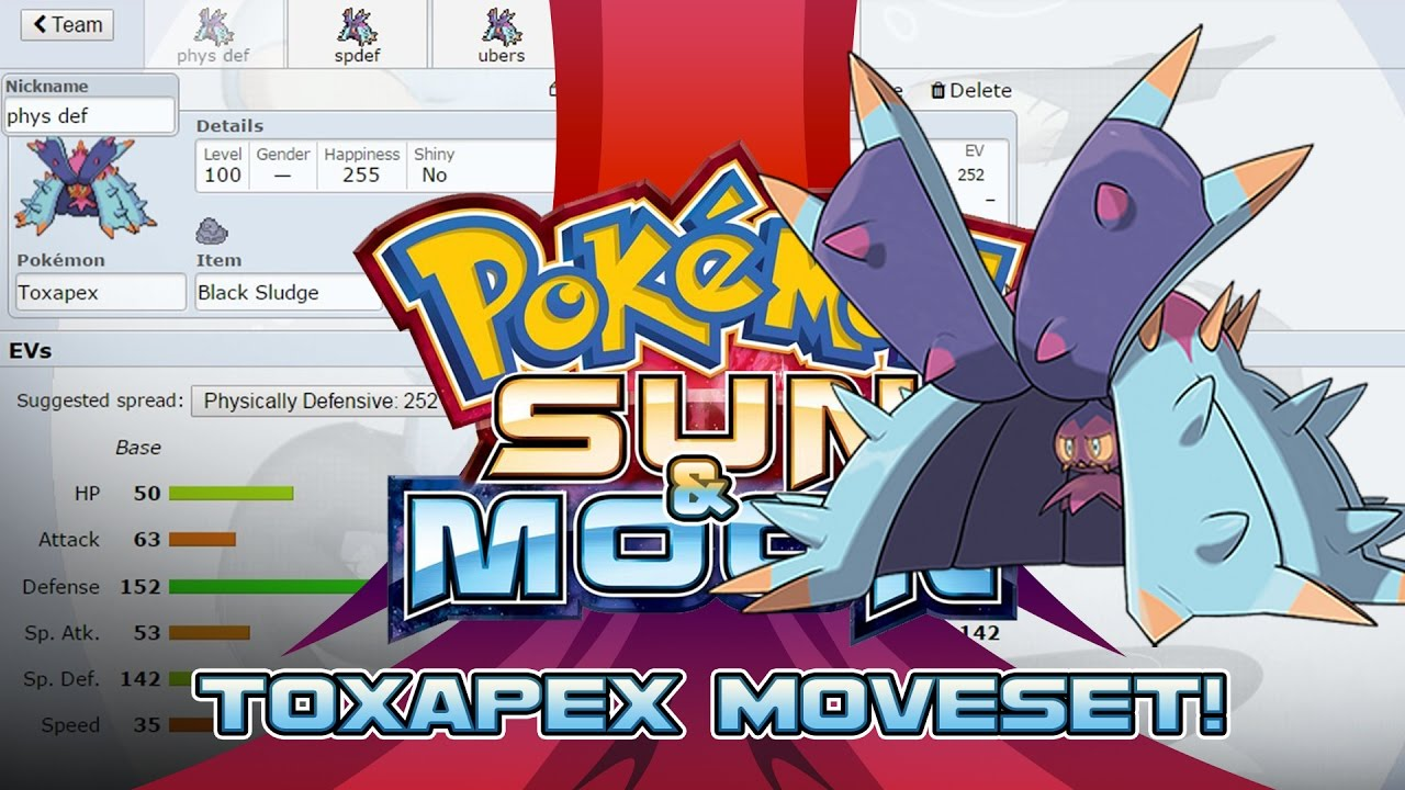 toxapex moveset guide how to use toxapex pokemon sun and moon w