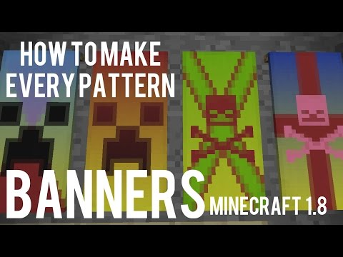 How To Make All Banner Patterns In Minecraft 1.8 - Banner / Flag Tutorial