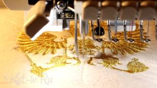 Вышивка двуглавого орла (герба России) золотой нитью на махровом халате(Вышивка герба России (двуглавого орла) металлизированной золотой нитью на махровом халате в подарок. Если..., 2015-10-27T00:39:50.000Z)