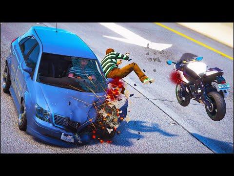 GTA 5 CRAZY MOTORCYCLE CRASHES Ep.1 (Euphoria Physics Showcase)