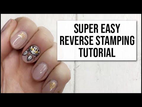 SUPER EASY Reverse Stamping Nail Art Tutorial   Gel Nails   xameliax ...