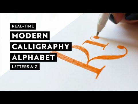 Real time modern calligraphy alphabet