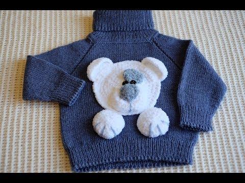 Как связать машинку на детском свитере