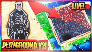 "PLAYGROUND FUN GAMEMODES LIVE! FREE ""BACKBONE"" AND ""CHOPPER SKINS! FORTNITE W/JUICYYTV!"