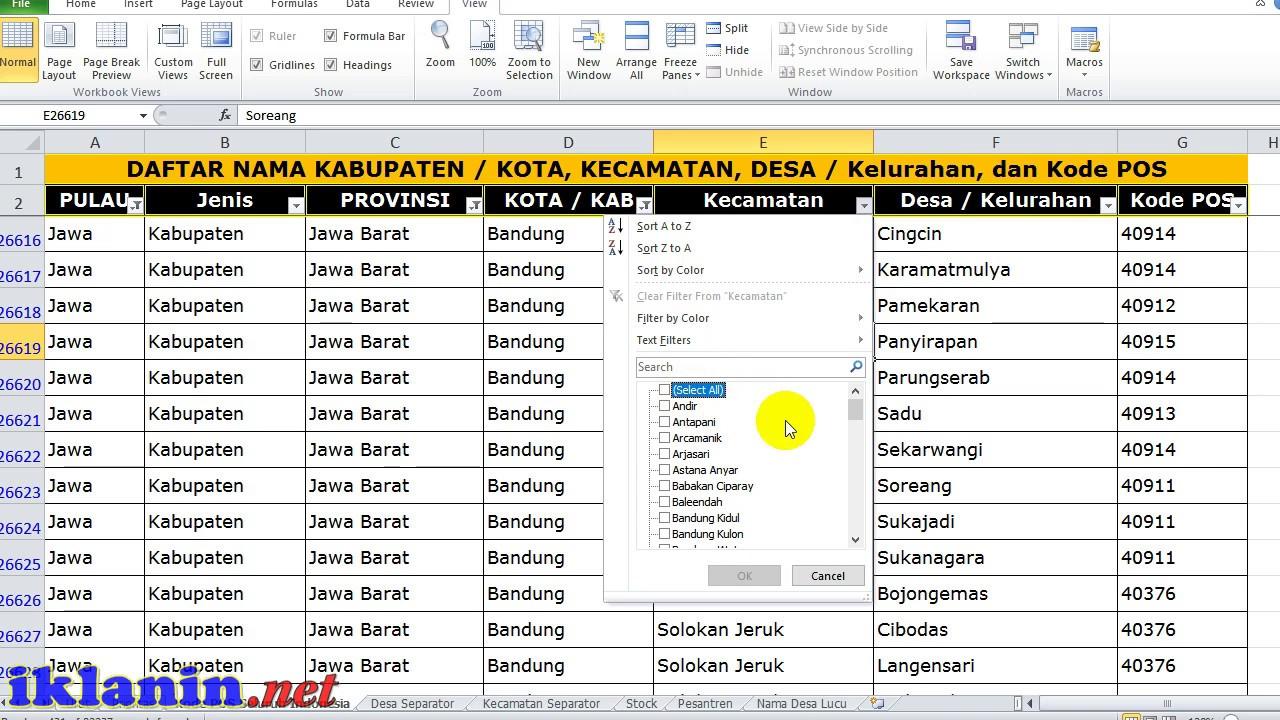 Cara Mencari Kode POS, Tanpa Harus Online, Download Data ...