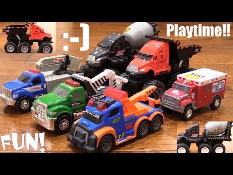 Toy Review Channel: Toy Trucks! A Dump Truck, Cement Mixer Truck, Tow Truck, Utility Truck and More!