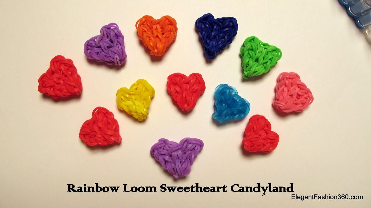 Rainbow Loom Heart Charms Heart Shaped Candy How To