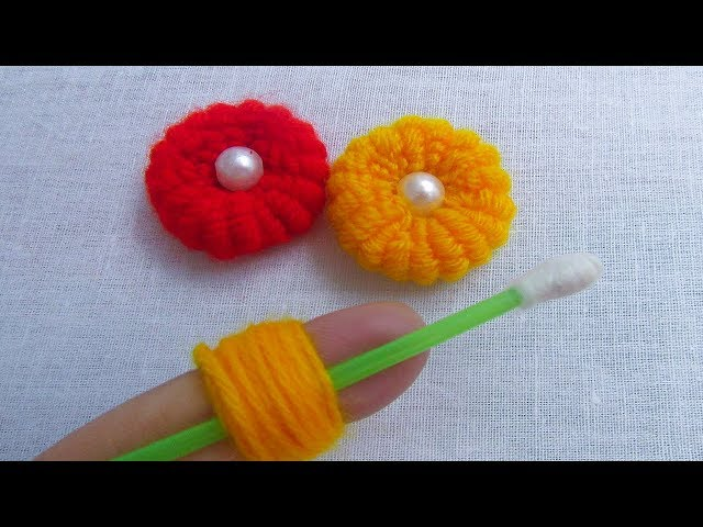 Hand Embroidery Amzing Trick, Easy  Flower Embroidery Trick with Cotton Bud