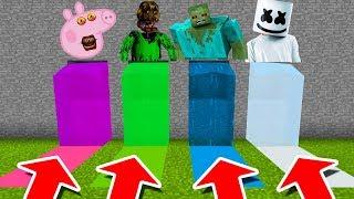 Minecraft PE : DO NOT CHOOSE THE WRONG WATERFALL! (Peppa Pig, Nightmare Baldi, Zombie & Marshmello)