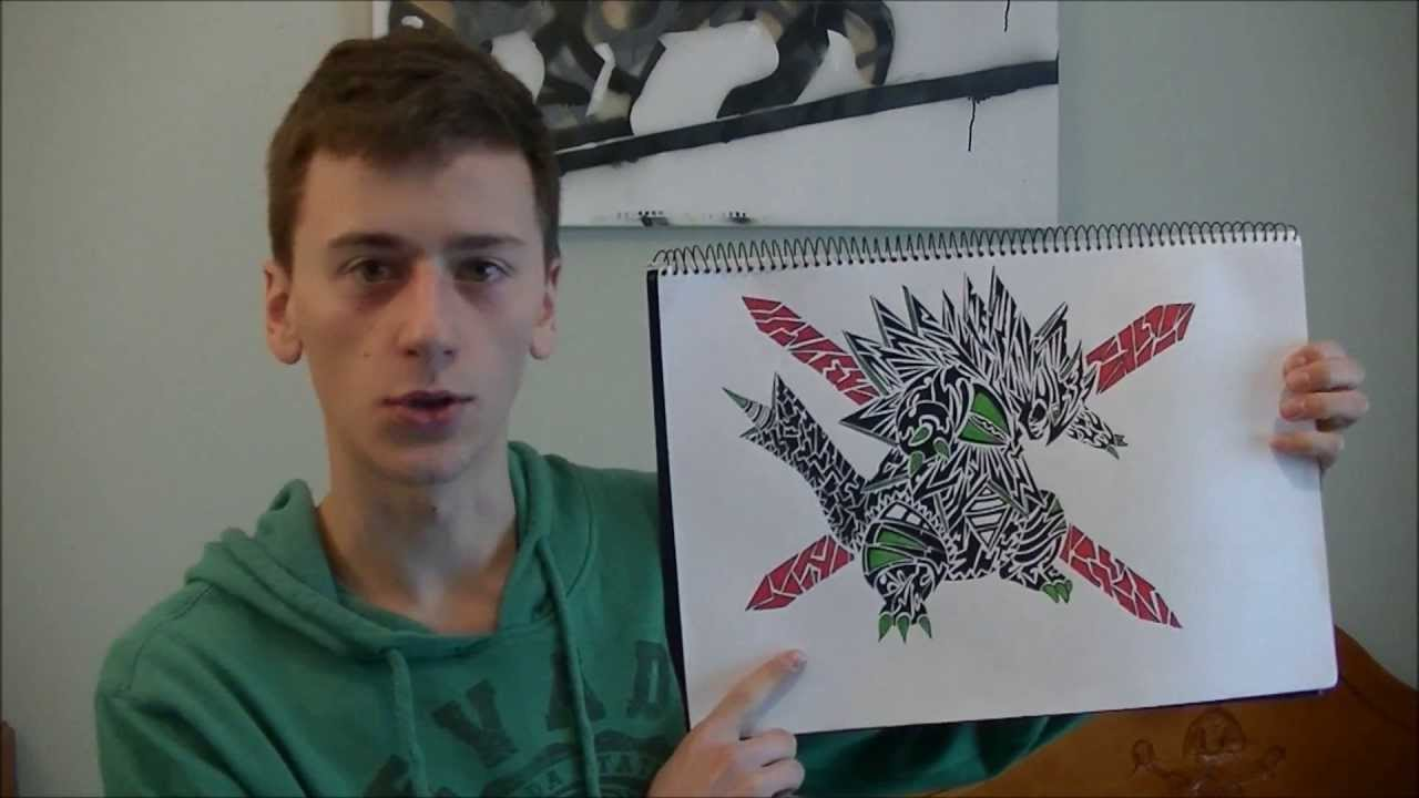 Tribal Pokemon Drawing Tyranitar Tattoo Design Speed