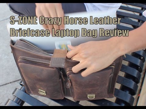 PR  S-ZONE Crazy Horse Leather Briefcase Laptop Bag Review - YouTube 0a10062d14f15