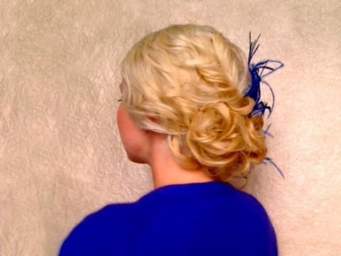 easy curly updo hairstyle medium