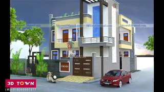 Front Elevation of Corner House by 3d Town
