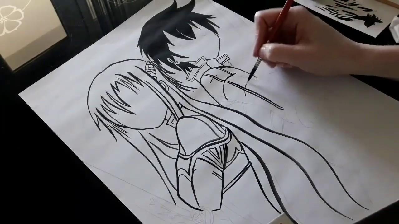Картинки черной гелевой ручкой аниме