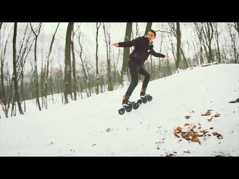 Powerslide Tau SUV 150 катание на роликах по снегу