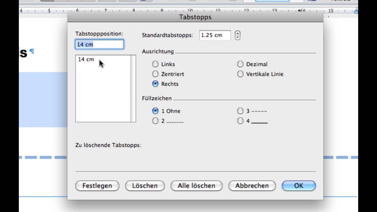 Kurs Microsoft Word 2011 Mac 052 Tabulatoren Füllzeichen Youtube