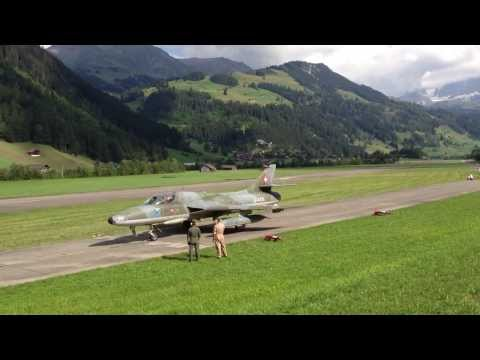 Hawker Hunter fighter jet takeoff in Switzerland