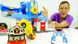 Машинки Робокар Поли. Распаковка игрушек. Ремонт дороги
