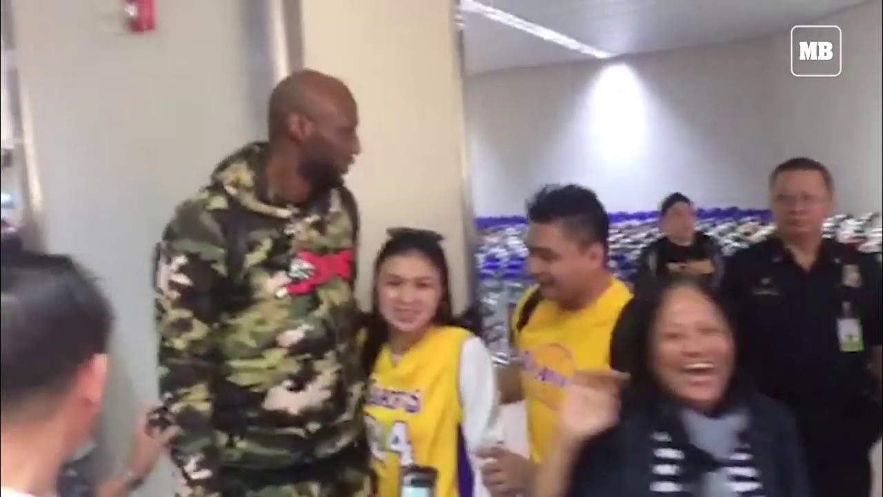 Former Lakers player Lamar Odom arrive at Ninoy Aquino International Airport