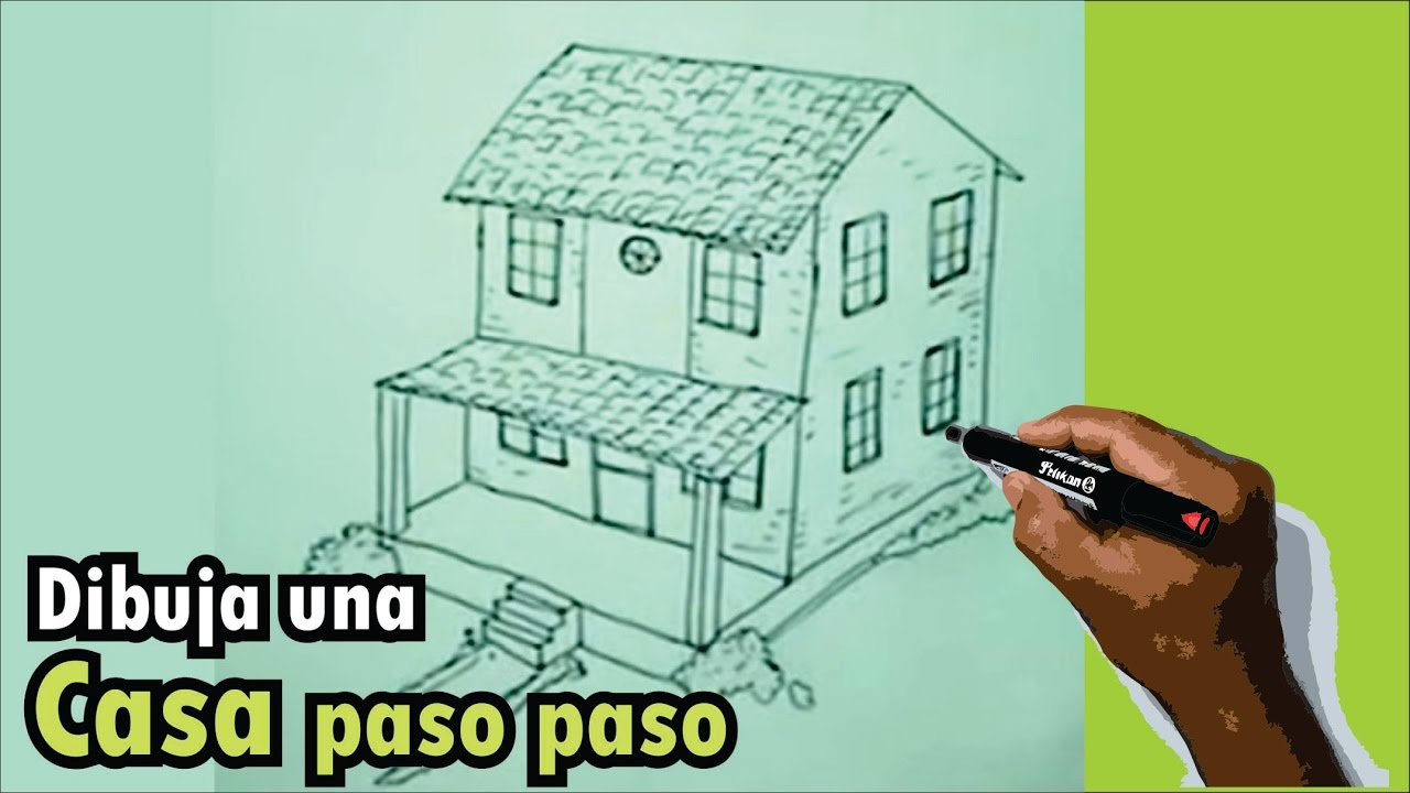 C mo dibujar una casa paso a paso 2 4 how to draw an for Como modernizar una casa