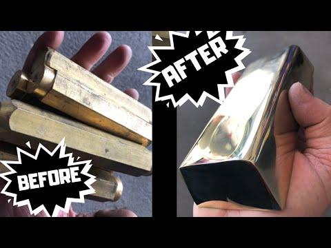 Mirrored Brass Bar Casting- Big Brass Block - Full Ingot Clean Up
