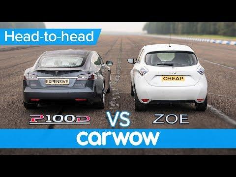Tesla Model S vs Renault Zoe - DRAG RACE, BRAKE TEST & RANGE ANXIETY challenge   Expensive vs Cheap