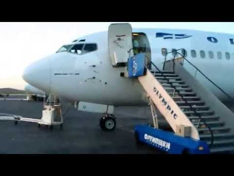 OLYMPIC AIRLINES boarding the plane to THESSALONIKI from ATHENS 737-400 SX-BKU