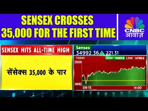 Sensex Crosses 35,000 For The First Time | Breaking News | 17th Jan | CNBC Awaaz
