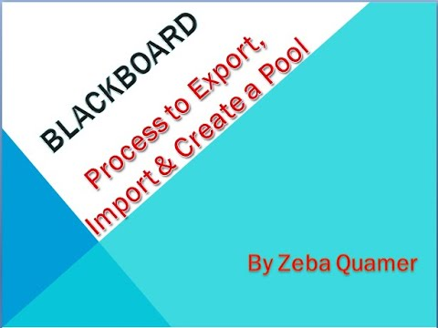 Process to Export, Import & Create a Pool