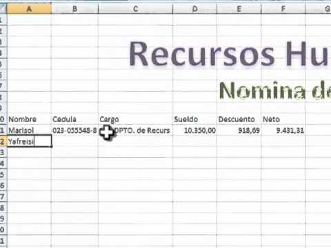 Como hacer una nomina en excel youtube for Plantillas de nomina en excel gratis