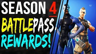 ALL Fortnite SEASON 4 BATTLE PASS Rewards - New Skins Emotes Gliders Sprays and More!