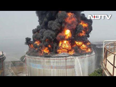 20 Hours Later Mumbai Butcher Island Fuel Tank Fire Still Burns On